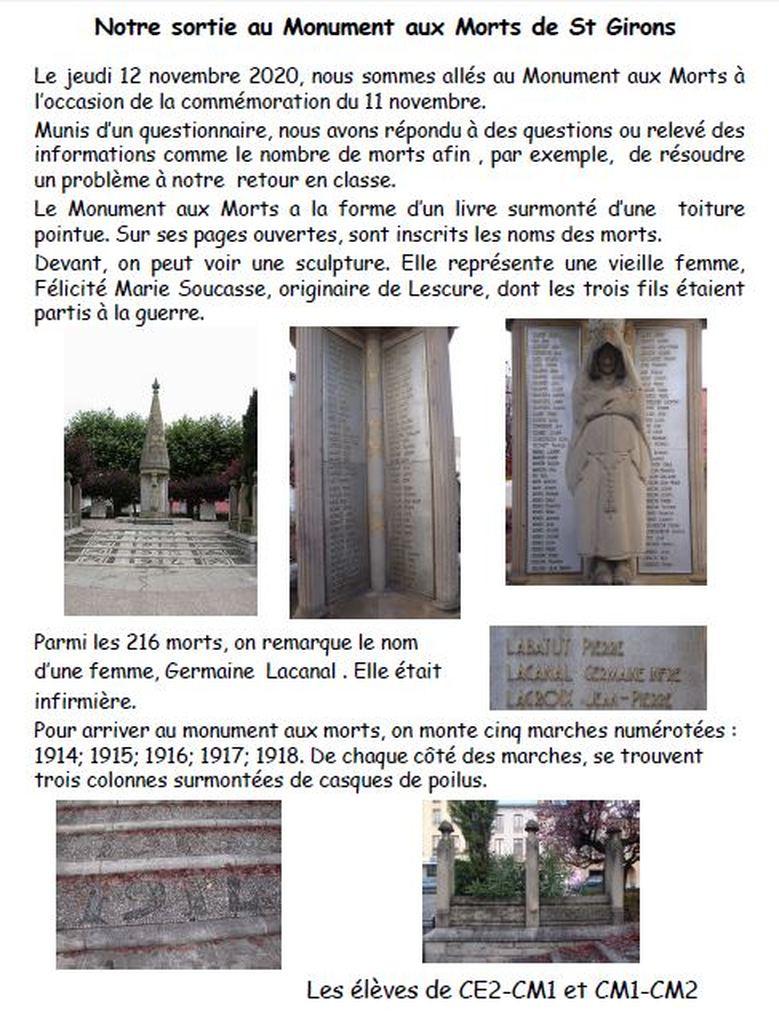 Sortie au monument aux morts
